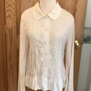 J.Jill Cream dressy button down top & lacy front